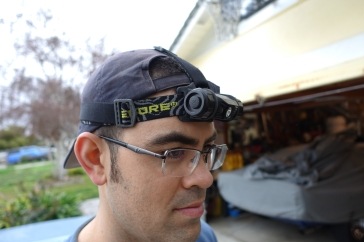 The rubber headlamp grip also double as a finger anchor for operating the light.